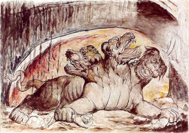 Cerberus, with the gluttons in Dante's third circle of hell. William Blake. (Public Domain)