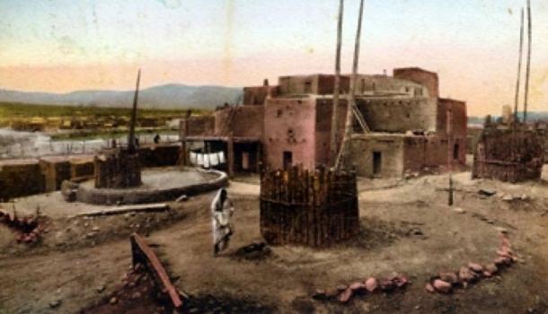 Ceremonial Kivas, Taos Pueblo, in a pre-1923 postcard.