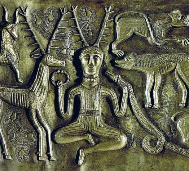An inner plate of the Gundestrup, Denmark, silver cauldron shows an antlered figure, possibly Cernunnos, a horned Celtic god also known as Hern the Hunter, with various animals.