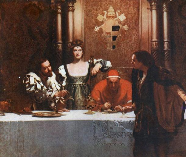 Cesare Borgia (his son), Lucrezia Borgia (his daughter), Pope Alexander VI and a young man with an empty glass.