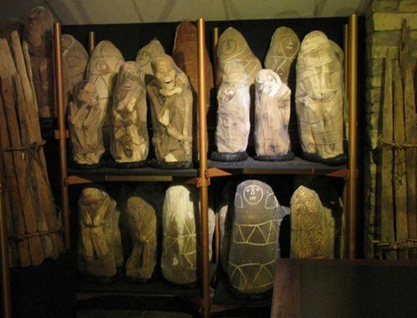 Chachapoya mummies wrapped in cloth at Leymebamba Museum.