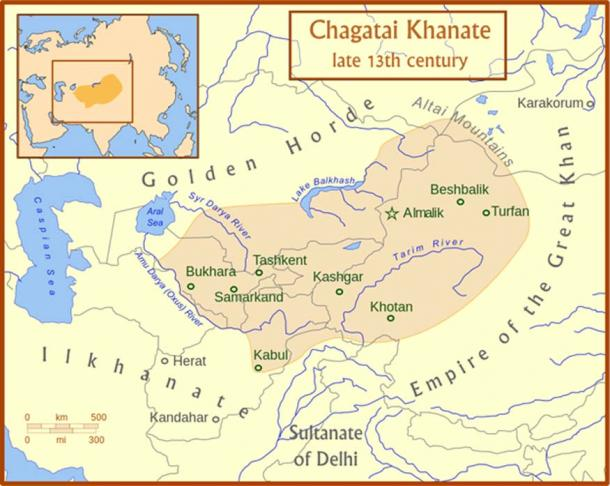 The Chagatai Khanate and its neighbors in the late 13th century.