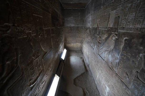 The chamber with the controversial reliefs, Temple of Hathor, Dendera, Egypt. (Ioannis Syrigos)