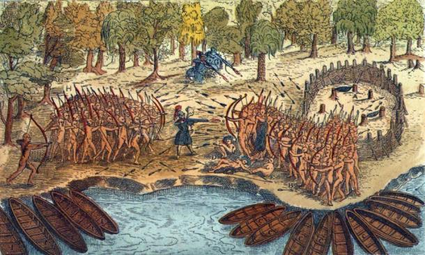 Engraving based on a drawing by Champlain of his 1609 voyage. It depicts a battle between Iroquois and Algonquian tribes near Lake Champlain