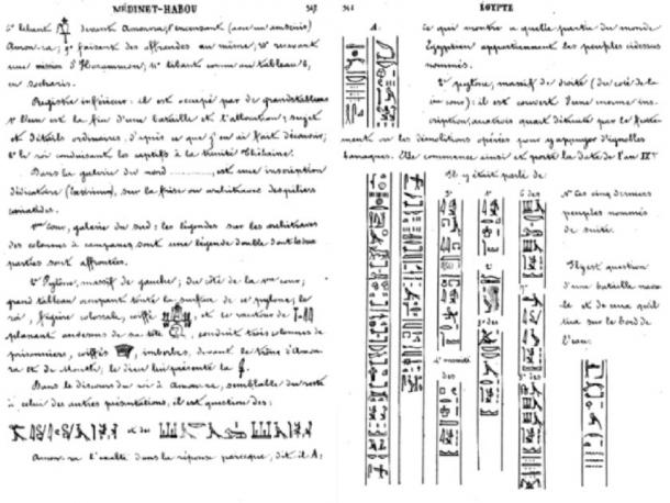 Champollion's description of the peoples, including Sea Peoples, named on the Second Pylon at Medinet Habu. (Public Domain)