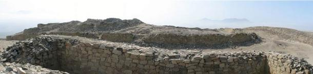 Remains of Chankillo Fortaleza. Archaeological site near Casma, Ancash in Peru