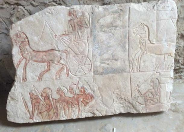 Charioteers and infantrymen are depicted in this scene. (Egyptian Ministry of Antiquities)