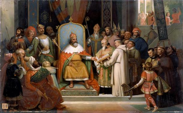 Charlemagne Receiving Manuscripts from His Tutor, the Monk Alcuin, by Jules Laure.