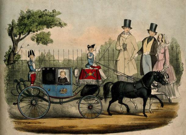 Charles S. Stratton, a dwarf known as General Tom Thumb, in his carriage. Lithograph. Source: Wellcome Images/CC BY 2.0