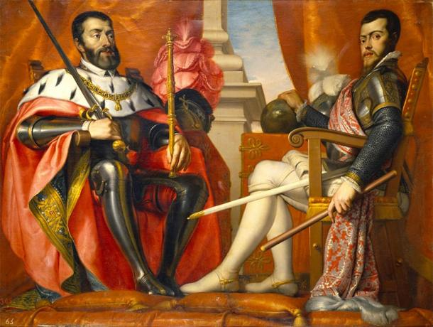 Charles V, Holy Roman Emperor and King of Spain (left) with his son Philip. (EeuHP / Public Domain)