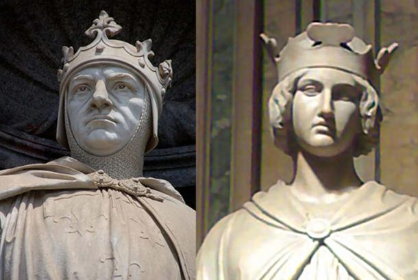 Charles of Anjou [left] and King Conradin (Conrad) of Sicily [right]