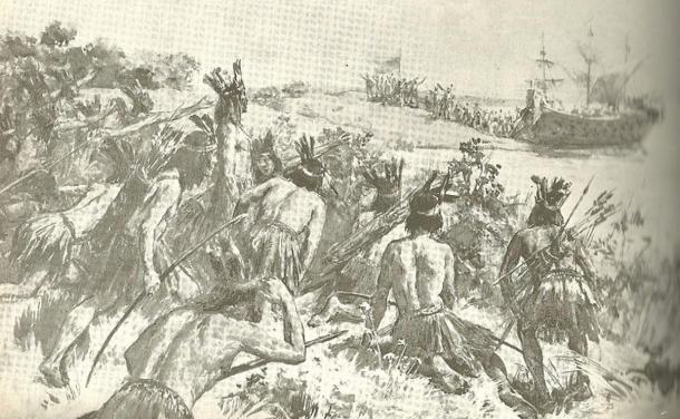 Illustration showing Charrúa warriors preparing to attack Spanish Juan Díaz de Solís by Ulpiano Checa