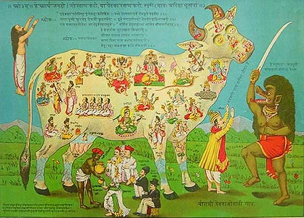 "Chaurasi Devataon-wali Gai, or ""The Cow with 84 deities"" by Raja Ravi Varma."