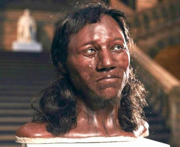 Cheddar Man, a Mesolithic hunger-gatherer with thick, dark hair and blue eyes. (Channel 4/Tom Barnes)