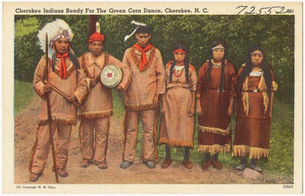 Cherokee Indians ready for The Green Corn Dance, Cherokee, N. C. (Boston Public Library/CC BY 2.0)