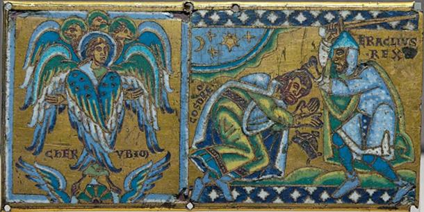 Cherub and Byzantine Emperor Heraclius receiving the submission of the Sassanid king Khosrau II (Public Domain)