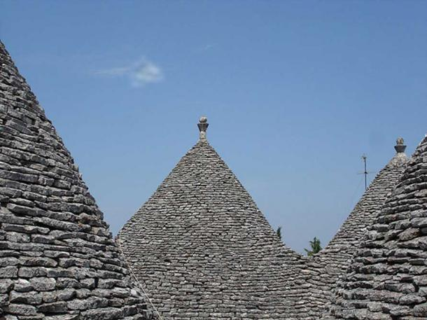 Chiancarelle-clad roofs in Alberobello, province of Bari, Italy.