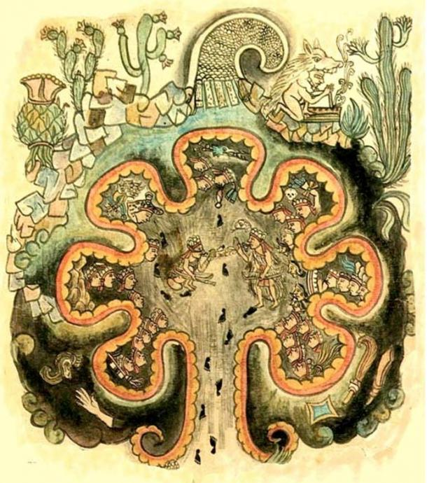Chicomoztoc - the place of the seven caves. The mythical origin of the 'nahuatlaca' tribes. From the 'Historia Tolteca chicimeca'.