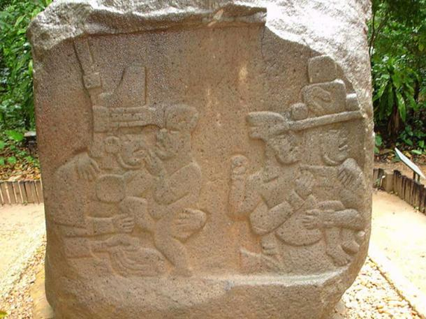 Children and Olmec priests. Bas-relief on the left side of Altar 5 from La Venta.