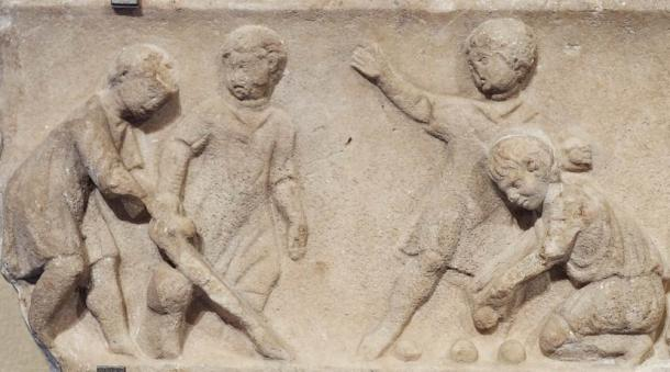 Children playing ball games, detail. Marble, Roman artwork of the second quarter of the 2nd century AD