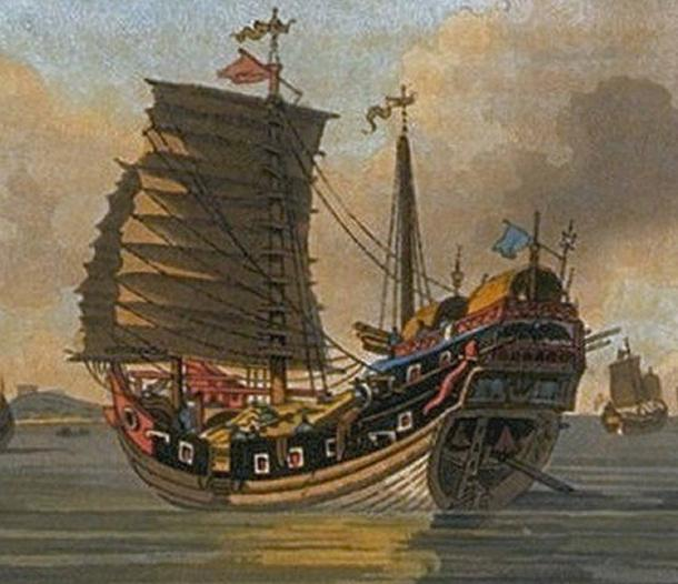 The distinctive curve of a Chinese 'Junk Ship'. Pirate fleets flew a red flag