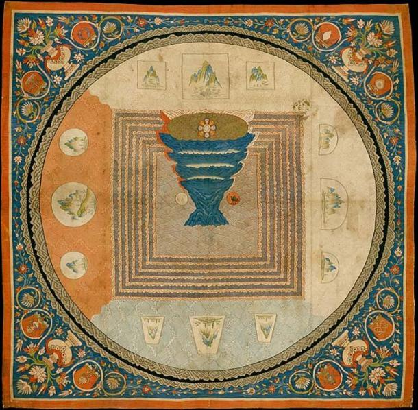 Chinese K'o-ssu depicting Mount Meru. Yuan dynasty (1271–1368). This elaborate tapestry-woven mandala, or cosmic diagram, illustrates Indian imagery introduced into China in conjunction with the advent of Esoteric Buddhism.