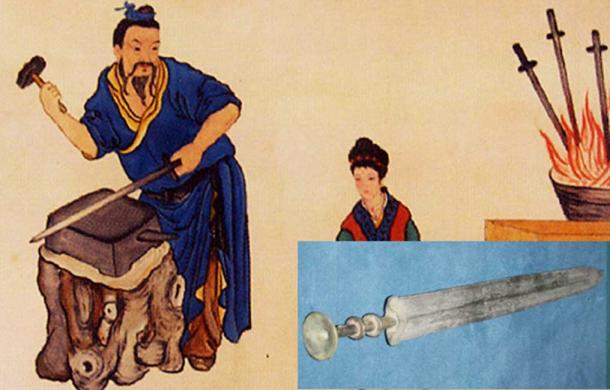 ​A painting of Ou Yezi (a sword maker from the Spring and Autumn period) forging swords in a temple in Longquan City dedicated to Ou Yezi. (Public Domain) Detail: A bronze sword from the Chinese Warring States period.