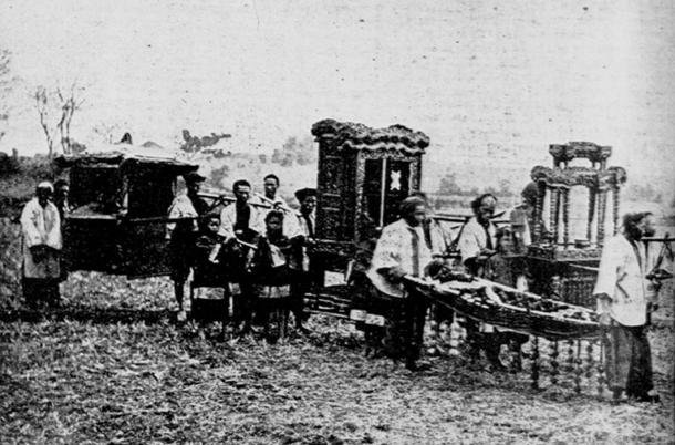 Traditional Chinese funeral march, circa 1900.