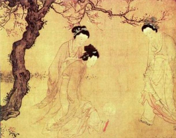 Chinese ladies playing cuju, by the Ming Dynasty painter Du Jin.