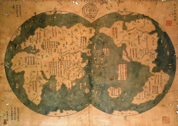 Reproduction of a supposed Chinese map from 1418 showing some of the Americas
