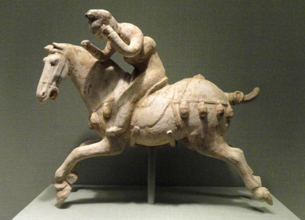 Chinese polo player statue, 7th century AD