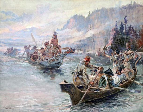 Chinook people meet the Corps of Discovery on the Lower Columbia, October 1805.