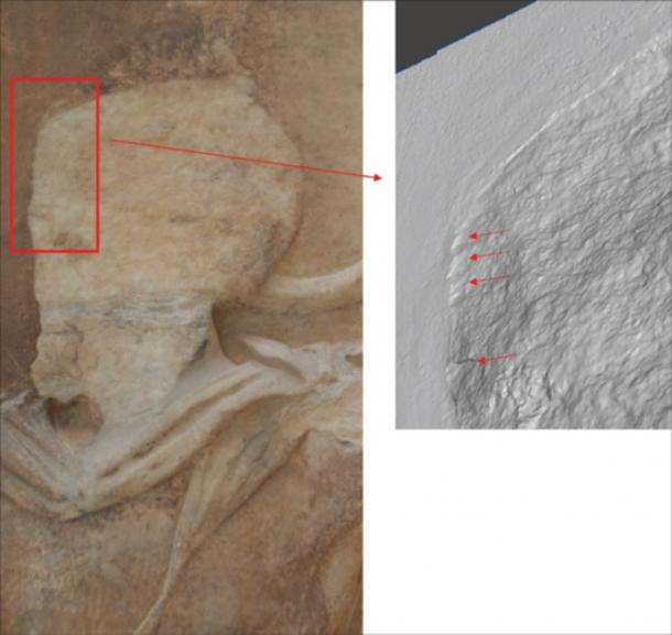 Chisel marks on the head of figure 15 of the West Frieze VIII, which is missing on original sculpture but present in Elgin's casts. (Dr Emma Payne, 3D imaging conducted courtesy of the Trustees of the British Museum and Acropolis Museum / Antiquity)