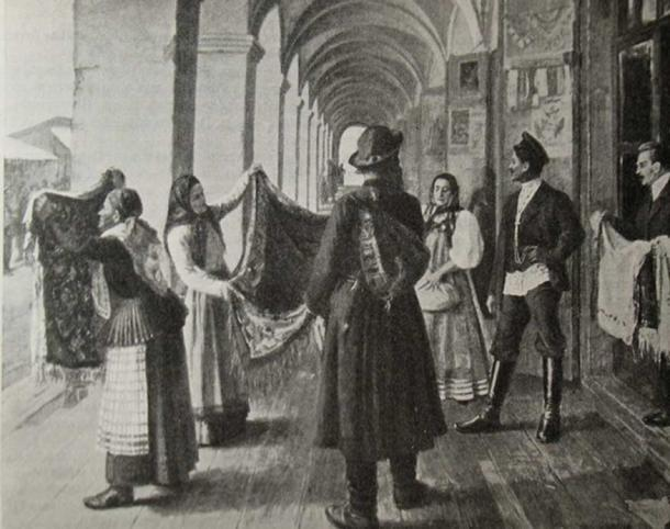 A reproduction of the painting 'Choosing a Dowry' (1910) by Nikolay Bekryashev, published in the magazine Niva in 1911.