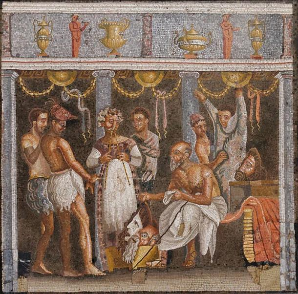 Choregos and actors, Roman mosaic. From the House of the Tragic Poet (VI, 8, 3), Pompeii.
