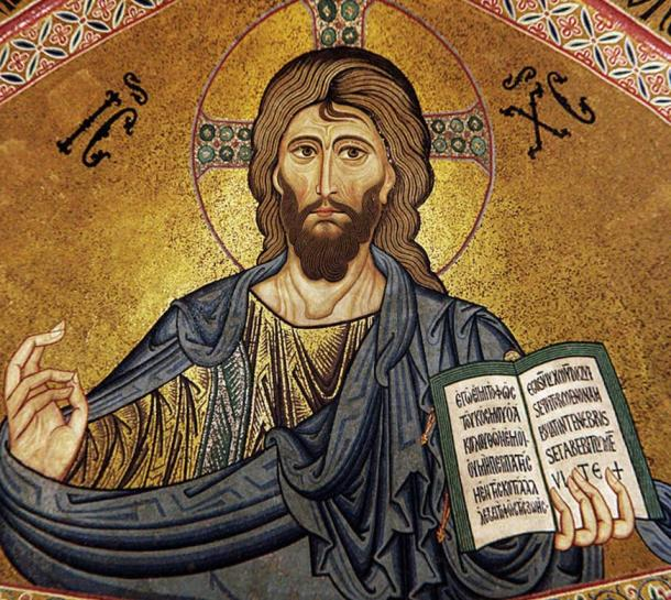 Christ Pantocrator mosaic in Byzantine style, from the Cefalù Cathedral, Sicily, c. 1131.
