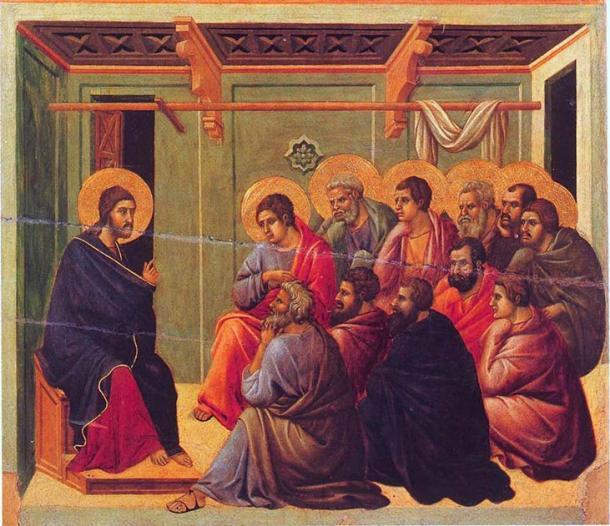 Cristo despidiéndose de los apóstoles del Evangelio de Juan (dominio público)