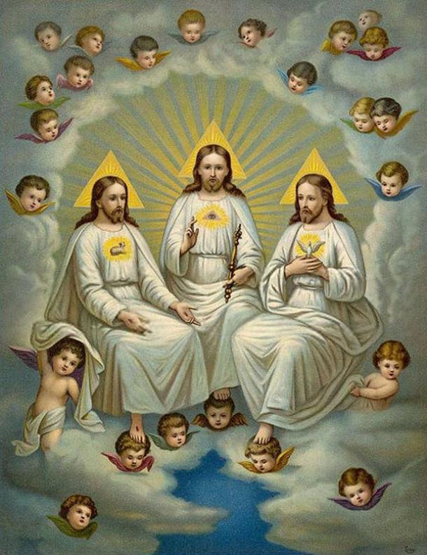 A representation of the Christian Holy Trinity. The persons of the Trinity are identified by symbols on their chests: The Son has a lamb, the Father, an Eye of Providence, and the Spirit a dove.