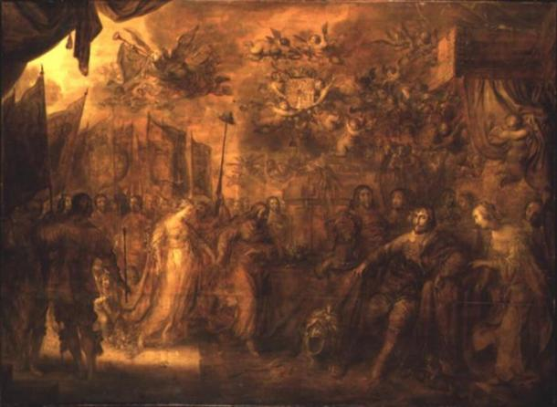 Christian IV receives homage from the countries of Europe as mediator in the Thirty Years' War. Grisaille by Adrian van de Venne, 1643.