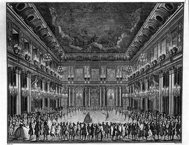 Christian VII and Caroline Matilda dance at the wedding held at Christiansborg Palace.