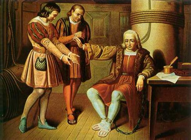 Christopher Columbus was arrested at Santo Domingo in 1500 by Francisco de Bobadilla and returned to Spain, along with his two brothers, in chains.