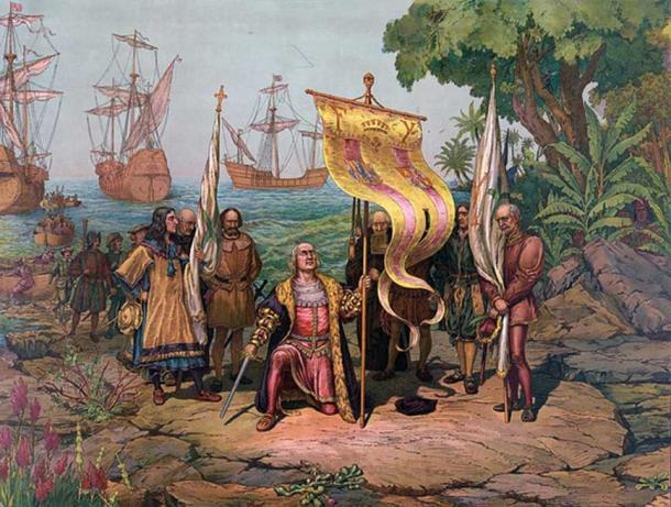 Christopher Columbus lands in America