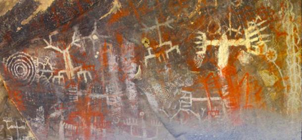 Chumash Cave Paintings in the Burro Flats Painted Cave, Simi Valley, California, USA.