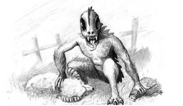 Drawing of a Chupacabra preying on animals. (Jeff Carter /CC BY 2.0)