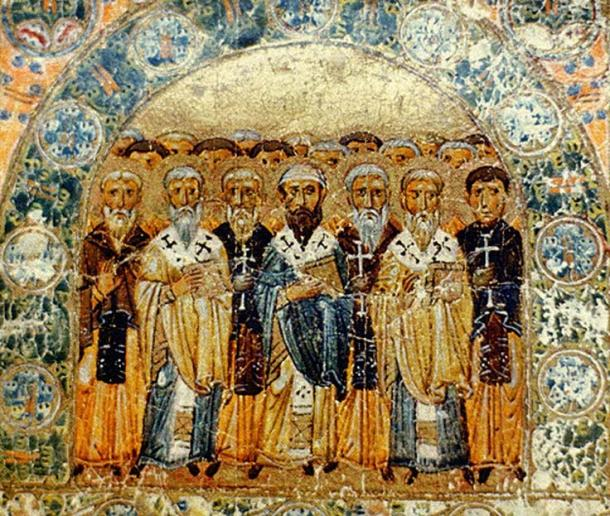 'Church Fathers' (1076), a miniature from Svyatoslav's Miscellany.
