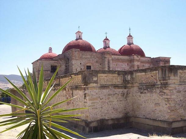 Church of San Pablo (1590), built on top of a pre-Hispanic structure including some of the mosaics.