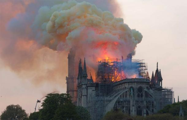Notre Dame cathedral in flames, after a freak electrical fire in April 2019. (GodefroyParis / CC BY-SA 4.0)