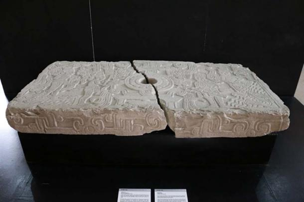 """A bas-relief depicting the """"Churning of the Sea of Milk"""" from the small site museum of El Tajin. (Photo © Marco Vigato)"""