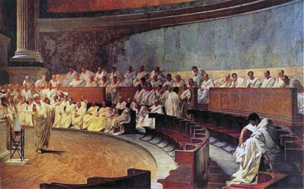 'Cicero Denounces Catiline' (1889) by Cesare Maccari. (Public Domain) Representation of a sitting of the Roman Senate. Initially the notices reported 'serious' news of importance to the Roman populace, such as the results of legal proceedings, and the outcomes of trials.