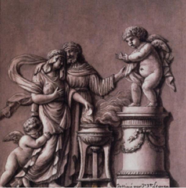 """""""Cinyre, prêtre de Vénus, et Myrrha"""" (Cinyre, priest of Venus, and Myrrha)."""